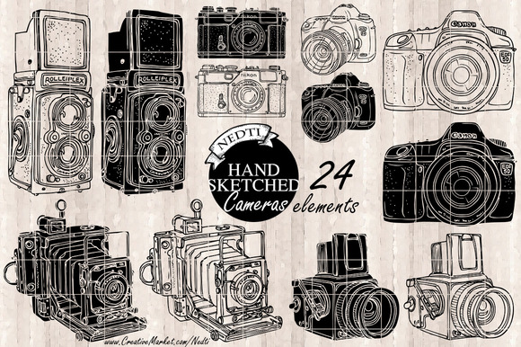 Photography Cameras Hand Sketched
