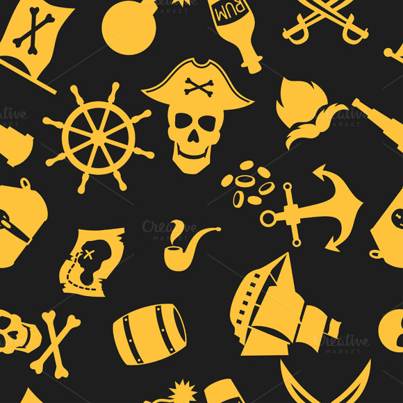 Seamless Patterns On Pirate Theme
