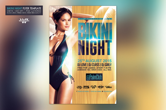 Bikini Night Flyer Template