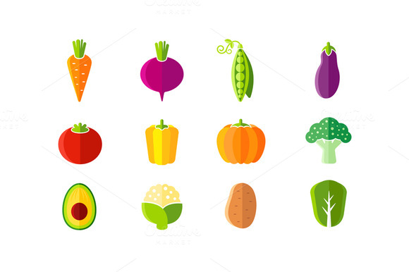 Fresh Vegetables Flat Style Set