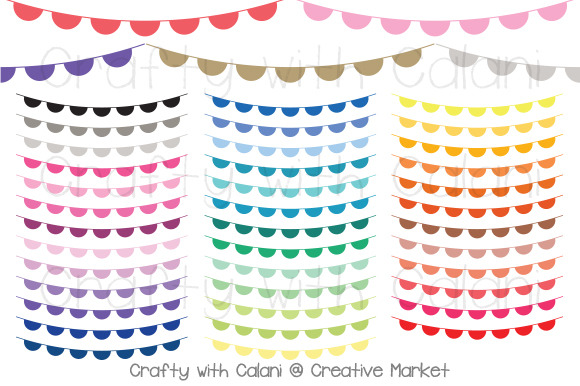 Scallop Pennant Bunting In 38 Colors