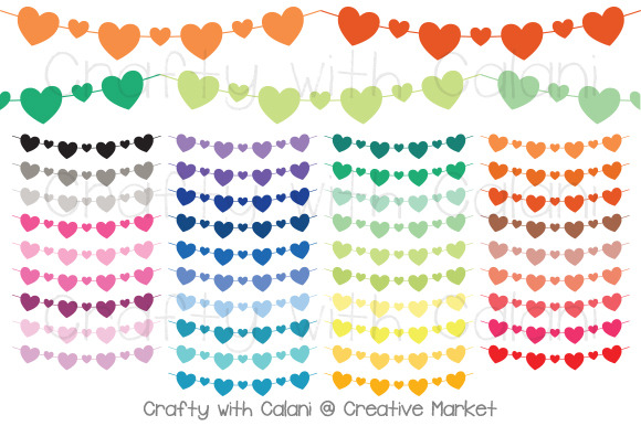 Heart Pennant Bunting In 38 Colors