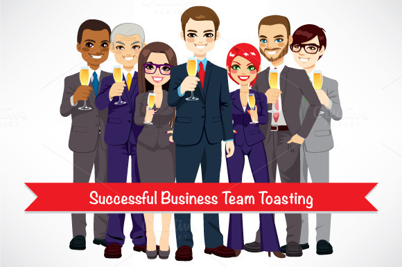 Successful Business Team Toasting