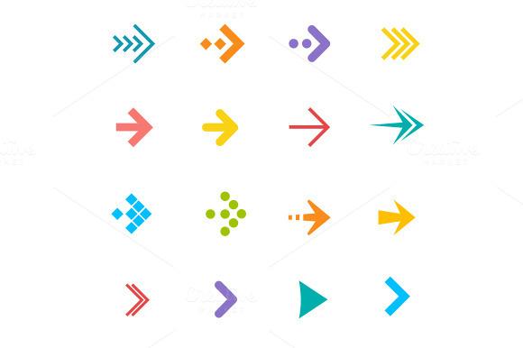 Vector Arrows Set Flat