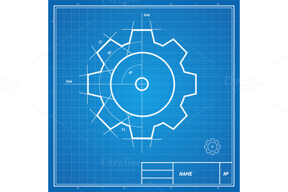 Vector Blueprint Gear Card