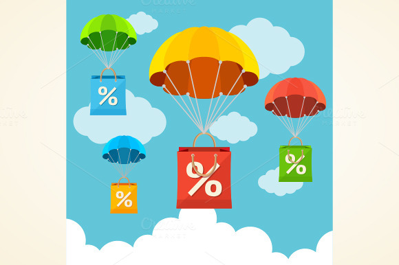 Vector Parachute With Paper Bag Sale