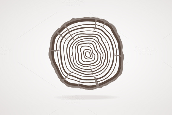 Vector Tree Rings Flat Design