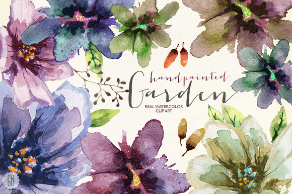 Aquarelle Watercolor Garden Flowers