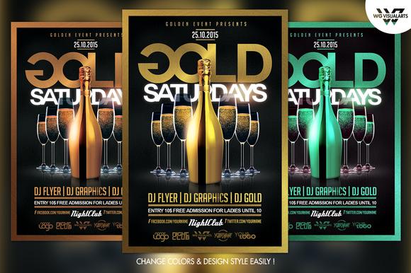Gold Saturdays Flyer Template