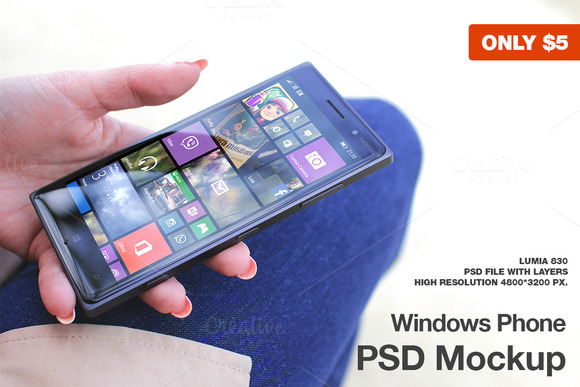 Windows Phone Lumia 830 Mockup
