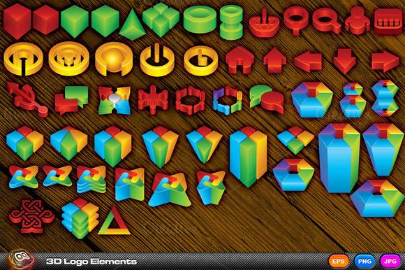3D Style Logo Elements