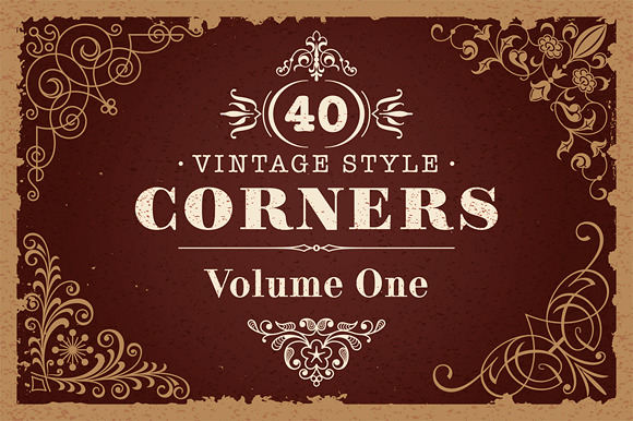 40 Vector Vintage Style Corners Set