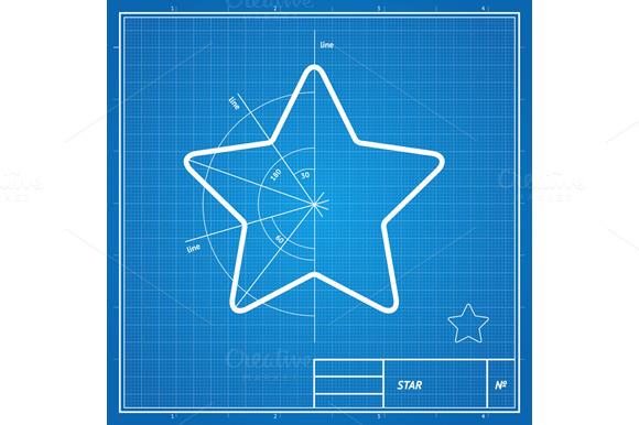 Vector Blueprint Star Card