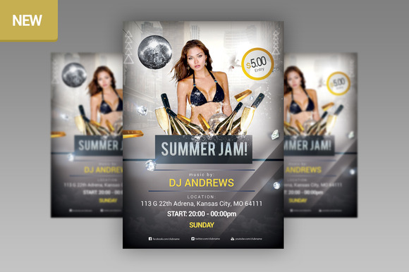 Summer Jam Party Flyer PSD