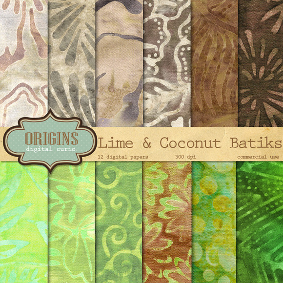 Lime And Coconut Batik Digital Paper