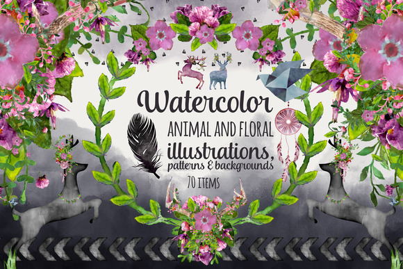 Watercolor Animals Florals Pattern