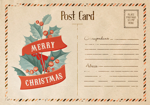 Vintage Christmas Mistletoe Card