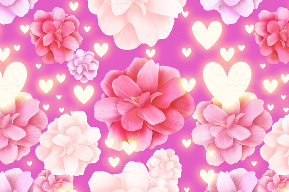 Seamless Roses Pattern With Hearts