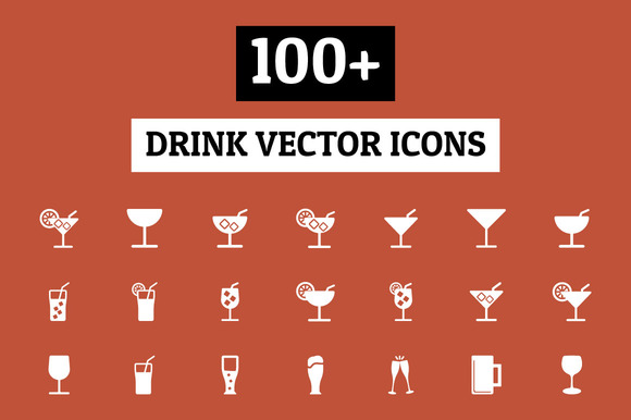 100 Drink Vector Icons