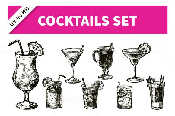 Hand Drawn Sketch Cocktails Set