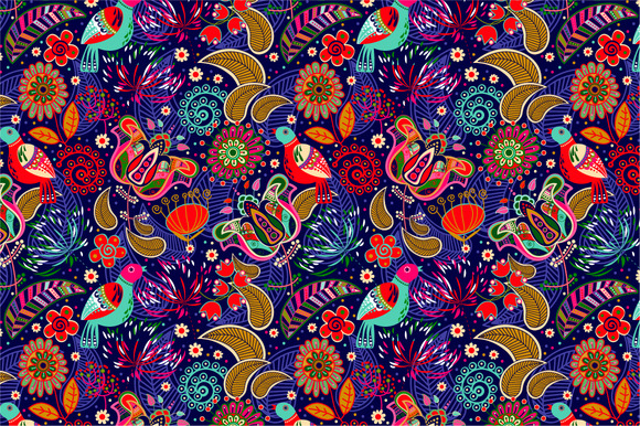 2 Seamless Patterns With Birds