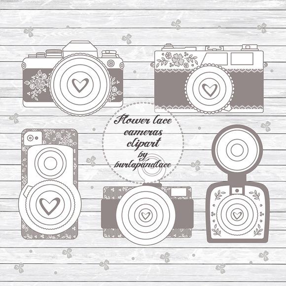 Vector Rustic Cameras Cliparts