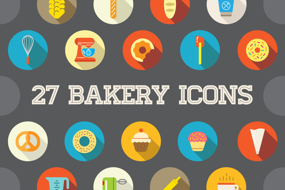 Awesome 27 Flat Vector Bakery Icons