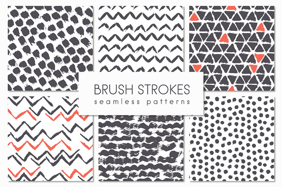 Brush Strokes Seamless Patterns 4