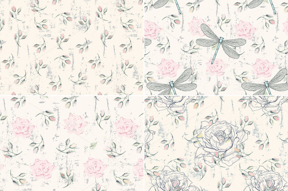 Roses Dragonflies Seamless Patterns