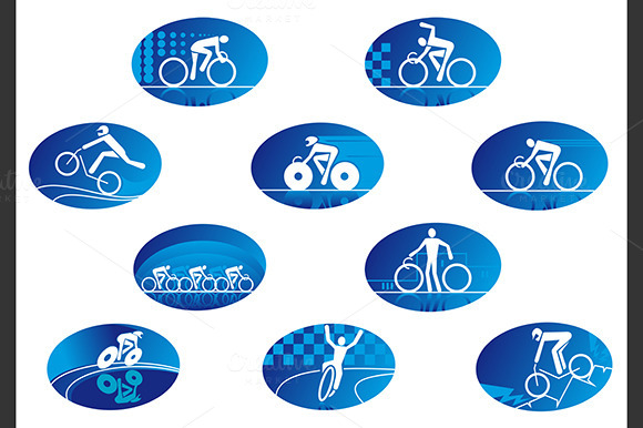 Blue Bicycle Sport Icons
