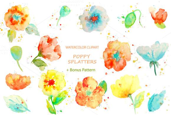 Watercolor Clipart Poppy Splatters