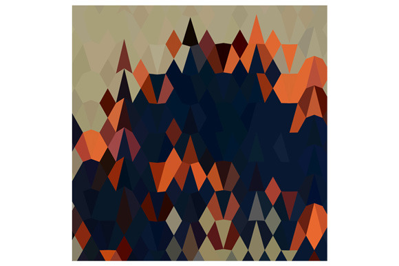 Orange Blue Abstract Low Polygon Bac