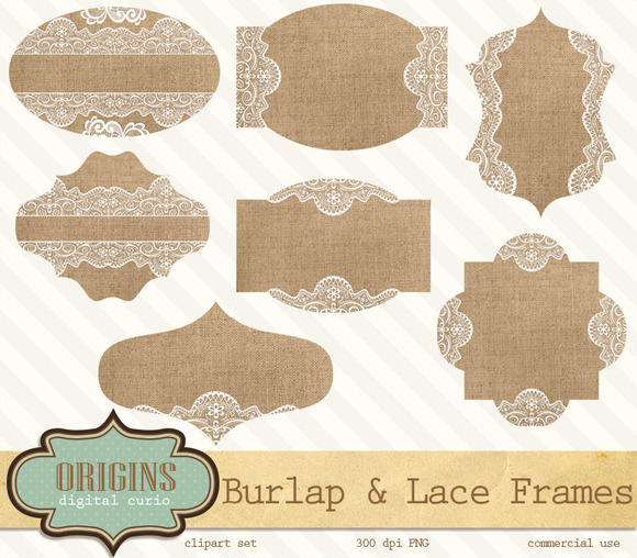 Burlap And Lace Frames Clipart