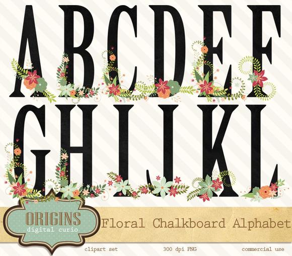 Chalkboard Floral Alphabet Clipart