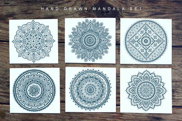 Hand Drawn Set Of Vector Mandalas