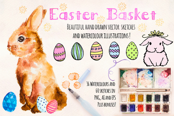 Easter Bunny Watercolor Graphics Kit