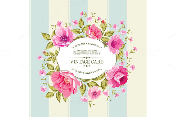 Flower Label On A Bright Background