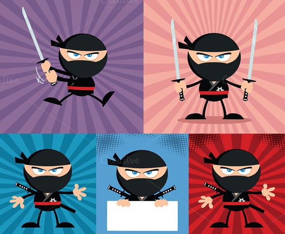 Flat Design Ninja Collection 8