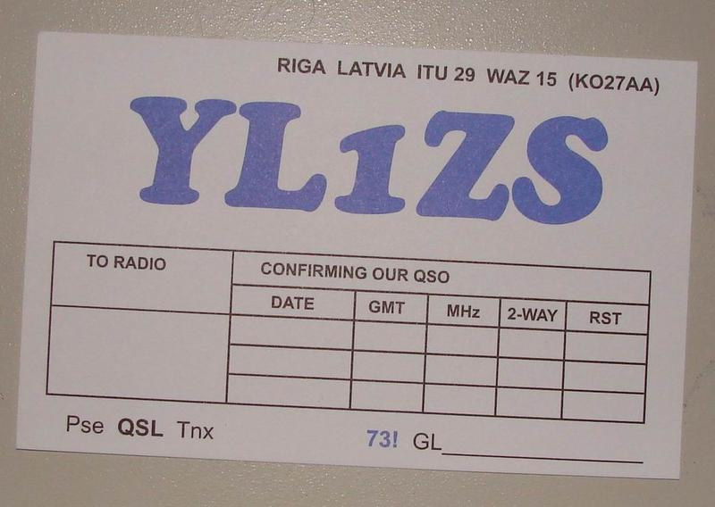 YL1ZS QSL card