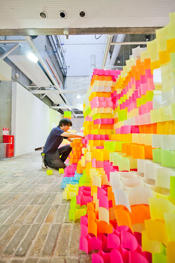 colorful building made of Post-Its