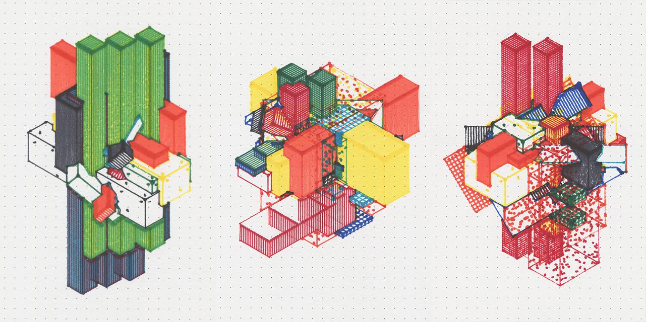 colorful computerized architectural design
