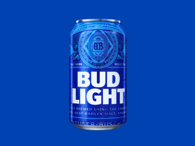 Bud Light against blue background