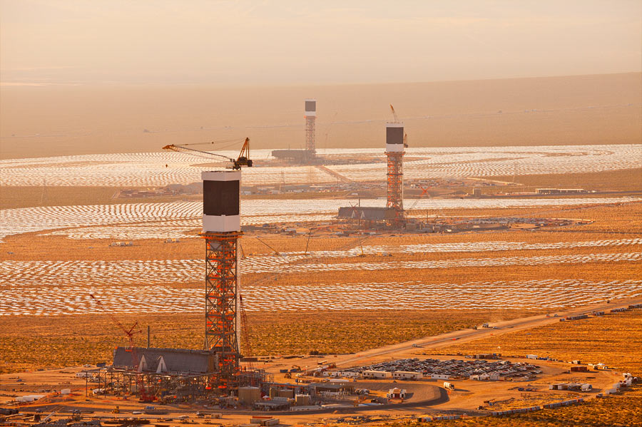 Aerial view of Unit 3, 2 and 1 at the Ivanpah Solar Project