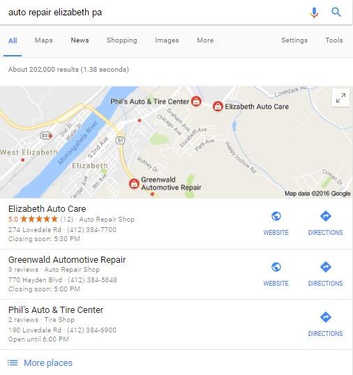 Local Google Search Listings Auto Repair Marketing