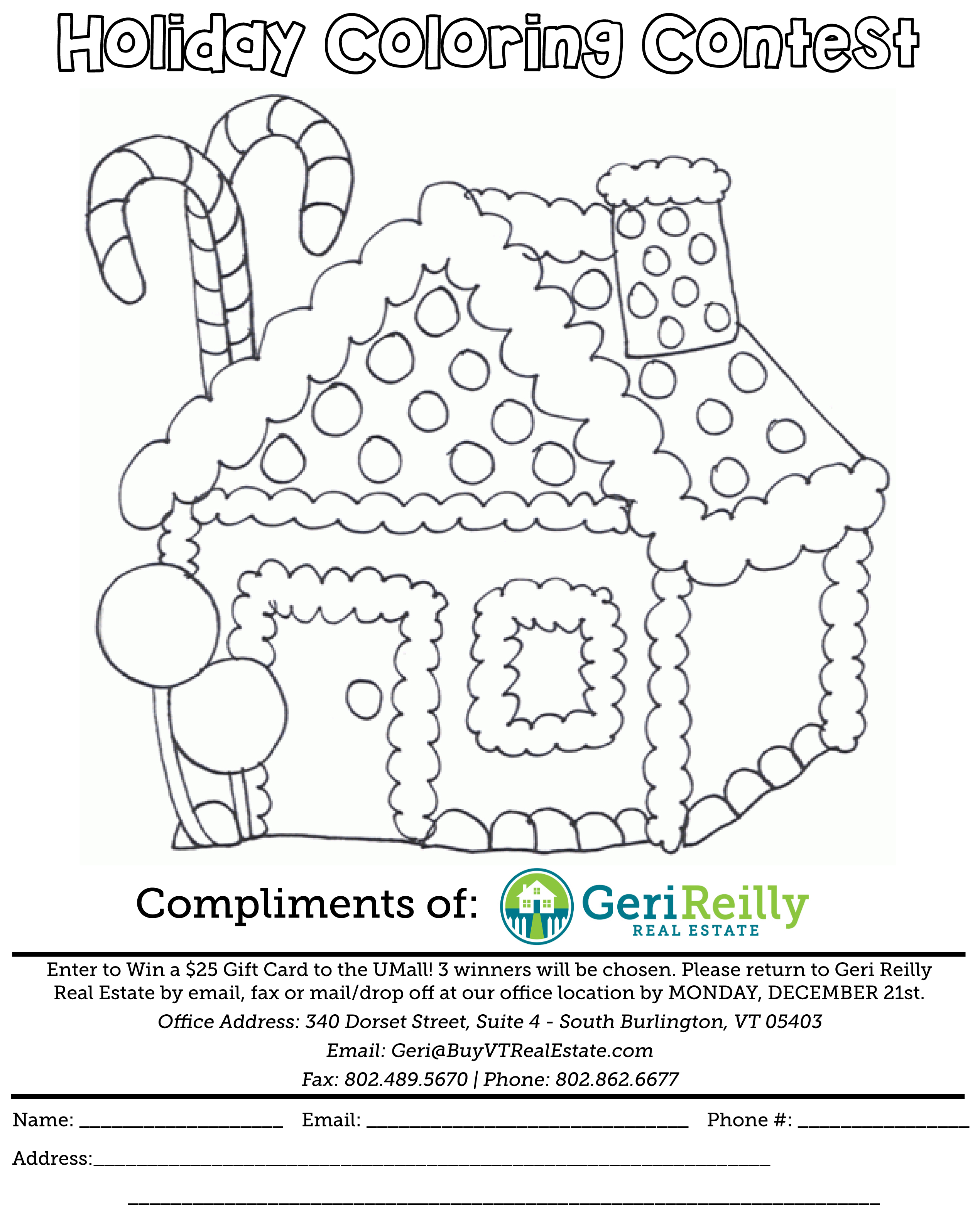 Geri Reilly Real Estate - Holiday Coloring Contest