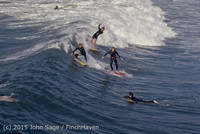 Surfing at Huntington Beach Pier CA early 1970s 74