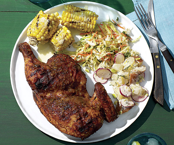 Smoked Chicken Halves with Lemon-Ginger Barbecue Sauce