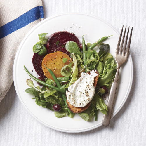 Fresh Greens with Roasted Beets
