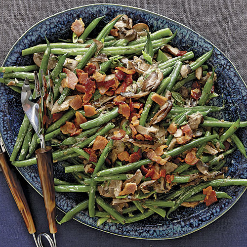 haricots verts with cream mushrooms crisp bacon finecooking. Black Bedroom Furniture Sets. Home Design Ideas