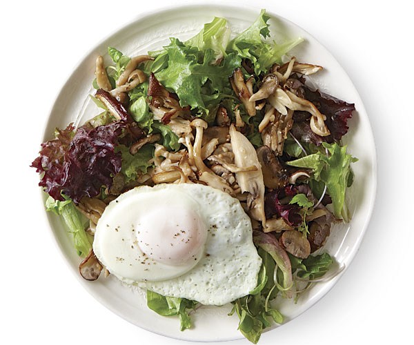 Wild Mushroom Salad with Fried Eggs - FineCooking
